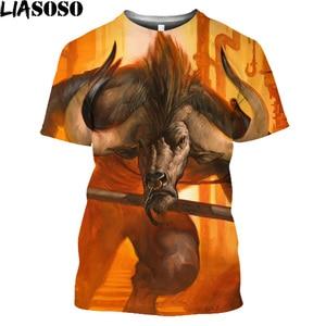 Vintage Minotaur 3D Print Men T Shirt Homme Greek Mythology Funny T Shirt Tops Halloweentown Animal Bull Yak Harajuku Shirt