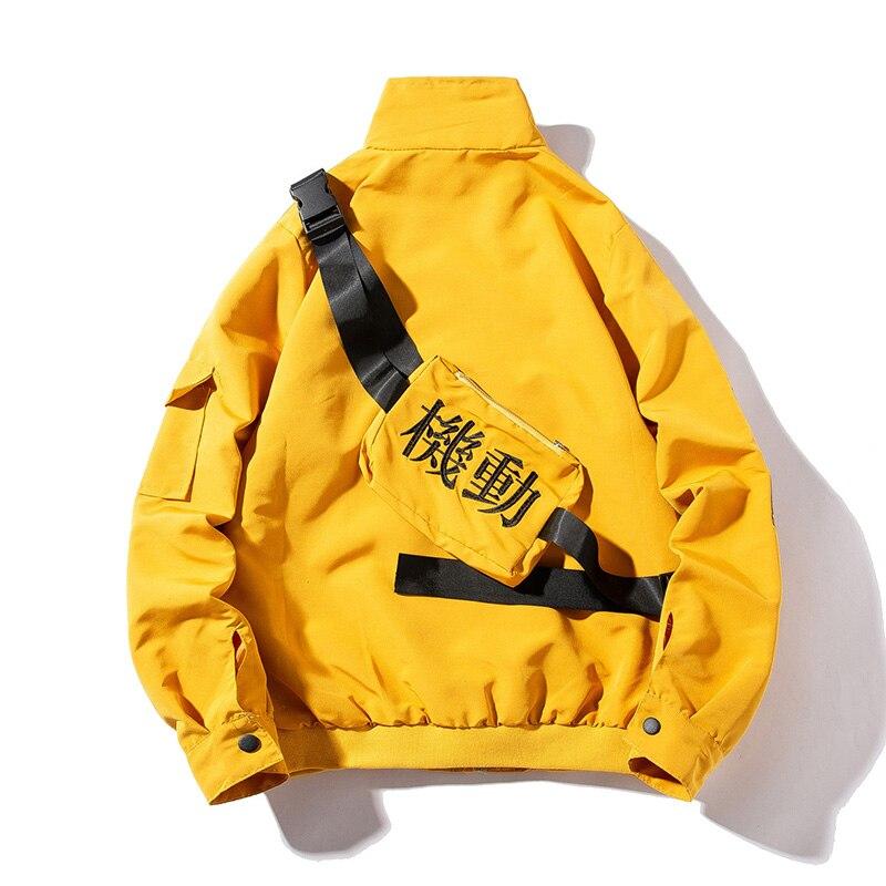 Homens Jaqueta Bomber Blusão Streetwear Moda Casual Hip Hop Mens Jaquetas Casacos Fitas Bolsos Mulheres Casaco