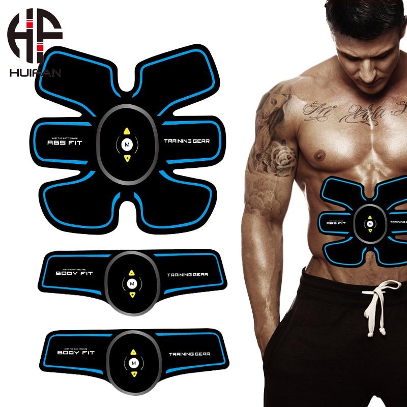 Huifan usb carregador abs estimulador ems músculos treinamento quadril estimulador muscular elétrico abdominal massagem conjunto