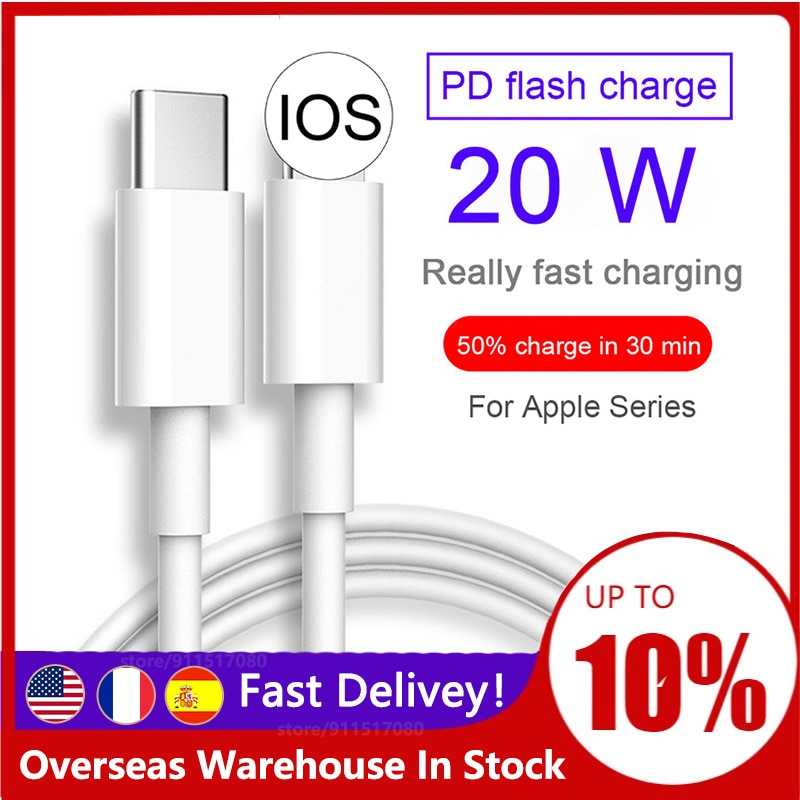 2021 Fast Charging 20W USB-C Type-C Cable Charger for iPhone 12 Pro Max mini 12Pro 11 Xs se ipad Typ