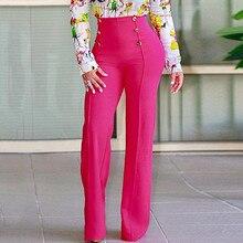Женские брюки с высокой талией, для работы, офиса, элегантные брюки, широкие брюки, свободные, уличная одежда, 2019, женские широкие брюки E3