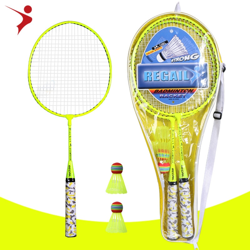Детская ракетка для бадминтона REGAIL, флуоресцентного цвета, H6508, два выстрела, 2 мяча, набор ракеток для бадминтона YMQ