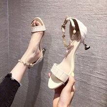 Fashion Open-toe Sandals Women 2021 Summer New Style Sandals One-word Buckle High Heels Women's Clas