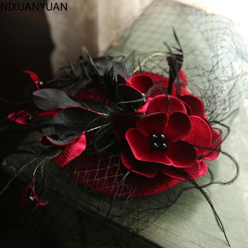 الجملة عالية الجودة الزفاف الزفاف قبعة بيضاء قطع زينة للنساء أنيقة مأدبة كوكتيل الألفية إكسسوارات الشعر