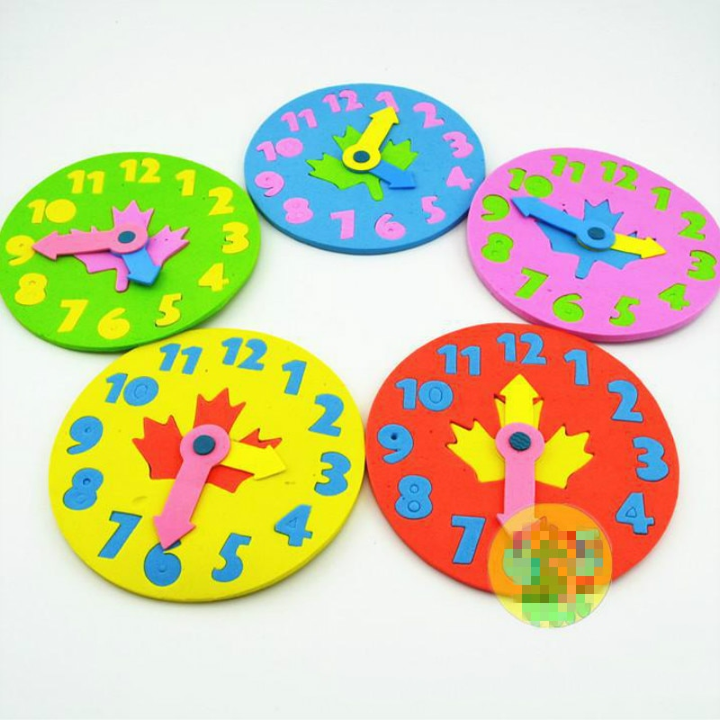 1 unidad, reloj Eva DIY para niños, juguetes educativos de aprendizaje, juego de matemáticas divertido para niños, juguetes para bebés, regalos de 3 a 6 años