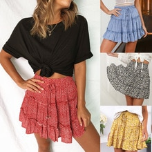 Multi Point Printing Miniskirt Summer Ruffle High Waist Skirt Women's Street Style Slim European and