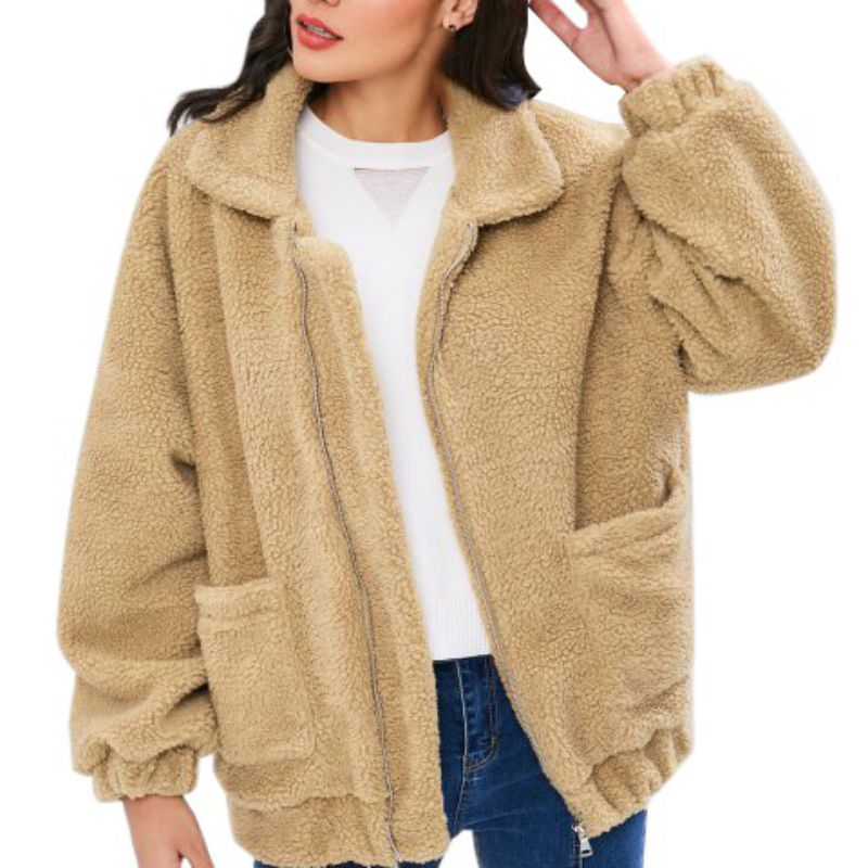 Abrigo de invierno de piel sintética abrigo de talla grande de moda de mujer chaqueta de bombardero de abrigo de mujer con cremallera