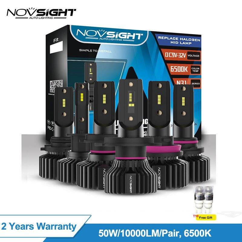 Novsight H4 Led H7 H1 H11 Luz de coche 50w 10,000lm Kit de coche 6500k 9005 Hb3 9006 Hb4 bombillas de faros Led de coche, 12v, sin Canbus de lámpara Led