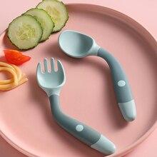 Juego de utensilios de silicona para bebé, cuchara para aprender a comer, tenedores suaves flexibles, vajilla para niño