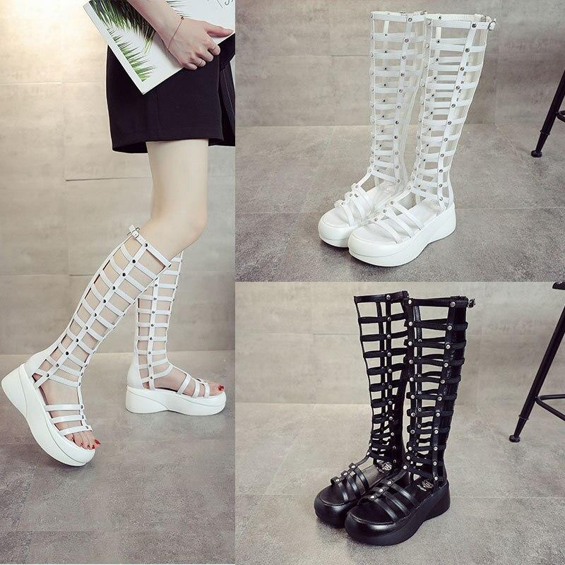 Sandalias de verano para mujer, moda de verano 2020, tacón alto de tubo grueso, versión coreana, calado, parte inferior gruesa, zapatos de mujer, FS-06