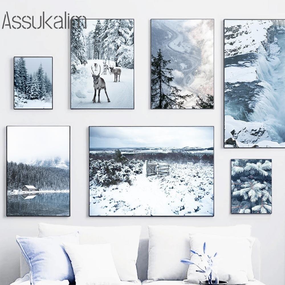 Зимняя снежная пейзаж холст картина олень Художественная печать лес Рим пейзаж настенные постеры скандинавские настенные картины для гост...