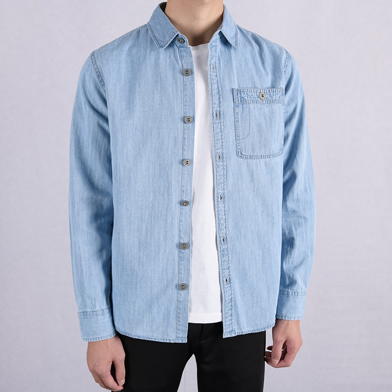 Longa-puro algodão de mangas compridas camisa marca de jeans homens moda camisas casuais para homens confortáveis camisas de denim masculino camisa camiseta