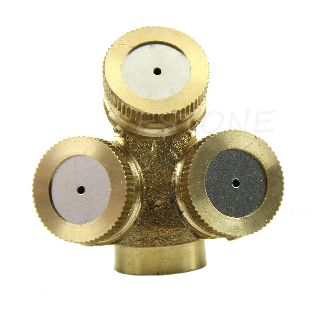 3 Holes Adjustable Brass Spray Misting Irrigation Nozzle Gardening Sprinklers