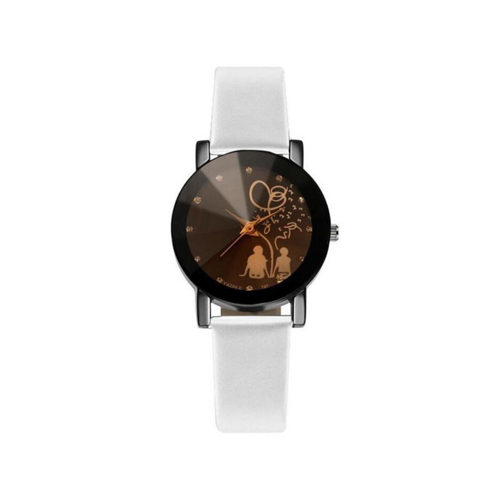 Fashion Unisex Couple Back Rhinestone Faux Leather Analog Quartz Wrist Watch