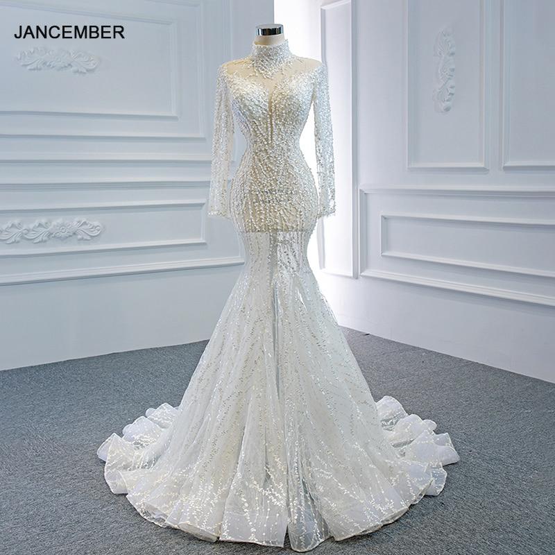 فستان أبيض مثير لحورية البحر من J67140 jancمبر 2020 مرصع باللؤلؤ برقبة عالية مطرز برباط في الظهر مزين بالترتر