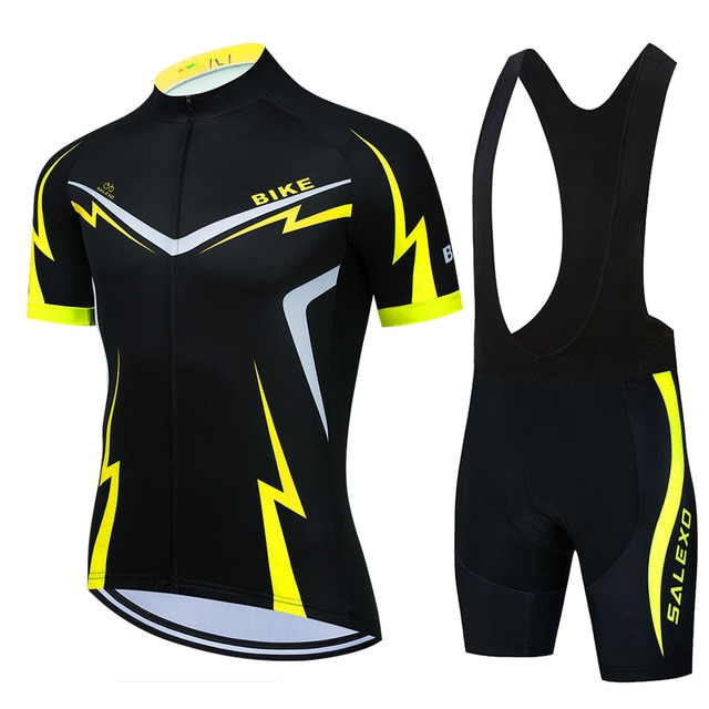 Profissional dos Homens Almofada de Borracha Kit de Equipe Vermelho Camisa Ciclismo Manga Curta Terno Wear 19d Mountain Bike Triathlon Bib