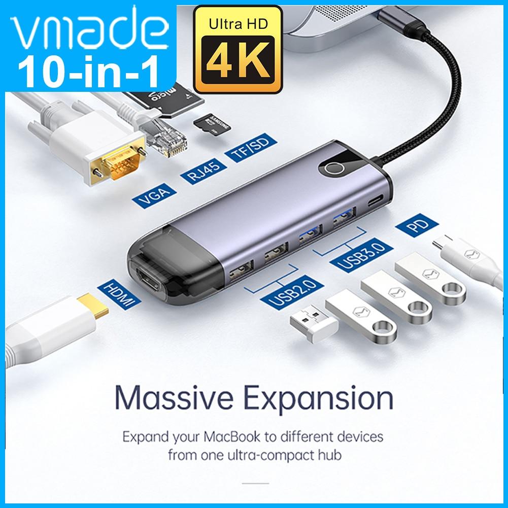 منفذ USB 3.0 Type-C to 4K Ultra HD USB3.0 متعدد المنافذ Hub مع منفذ RJ45/SD & TF Card/PD فتحة شحن Hub for MacBook Pro Huawei Mate 30