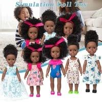 black african black baby realistic soft vinyl baby girl reborn cute curly hair black 35cm vinyl baby toy for kids birthday gift