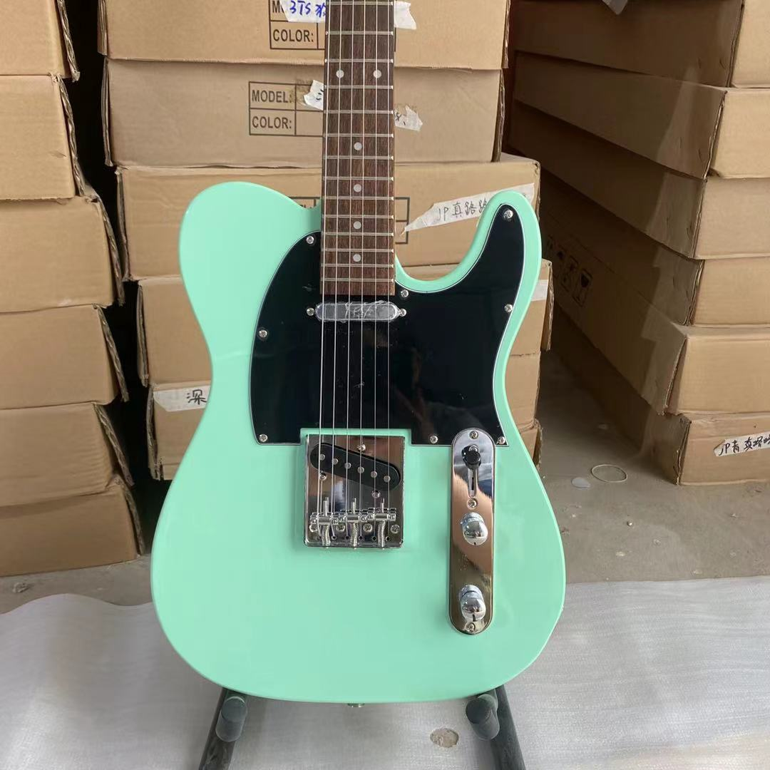 Tele Electric Guitar Bass Wood Body Rosewood Fingerboard Black Pickguard Chrome Hardware Surf Green Color Free Shipping