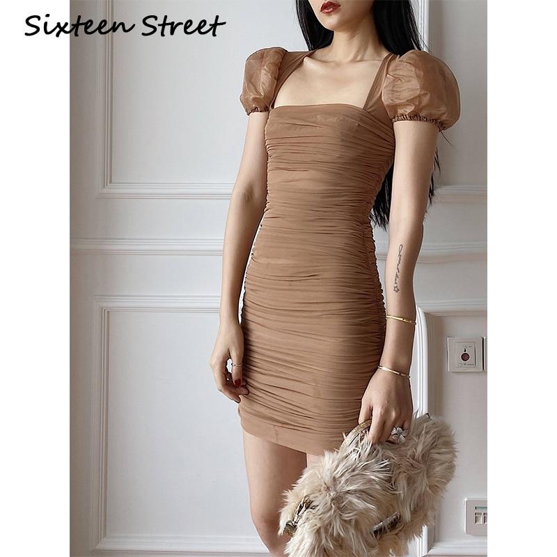 Nuevo verano Sexy Vestido de malla mujer manga corta Puff cuello Slash Casual Clue Party Mini Vestido femenino marrón Silid Vestido Femme