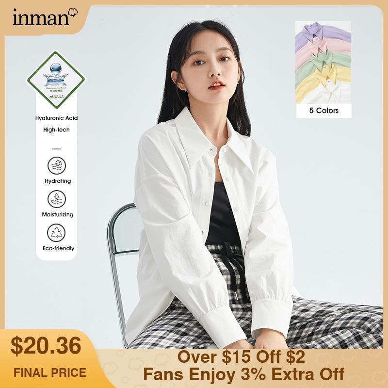 INMAN قميص نسائي خريفي شتوي قطن كلاسيكي قصير كم طويل بلوزات نسائية قطنية متعددة الألوان