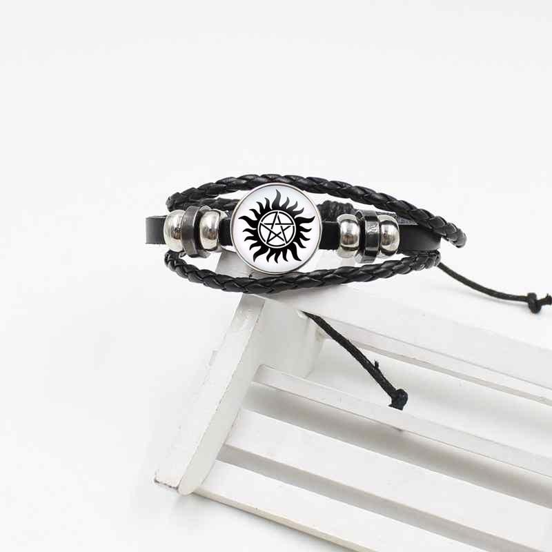 Pulsera retro de cuero de último tejido, joyería europea y americana de cristal supernatural de 5 puntas con diseño de estrella, el mal de sol y el poder 2019