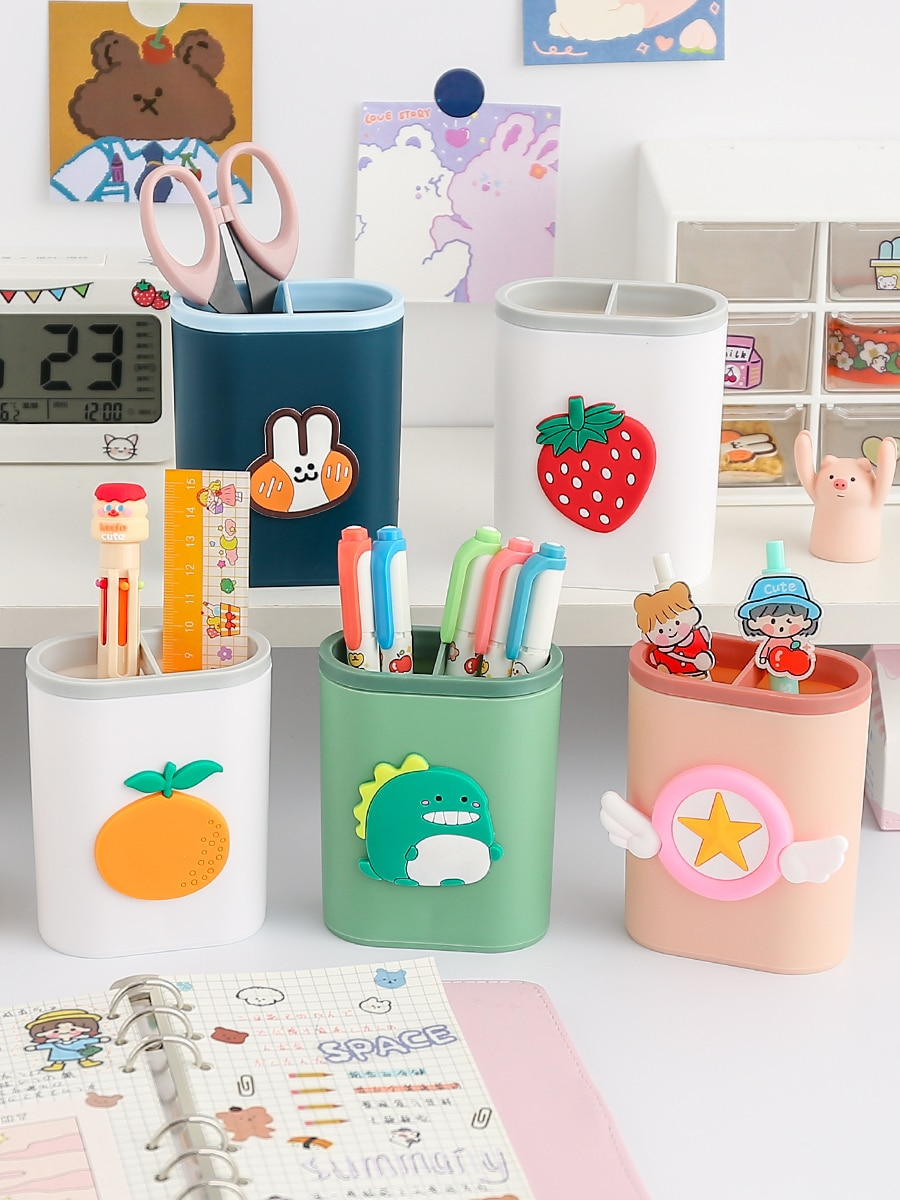 Мультяшная пластиковая настольная подставка для ручек и карандашей Kawaii офисный стол органайзер для макияжа, разное Коробка для хранения ка...