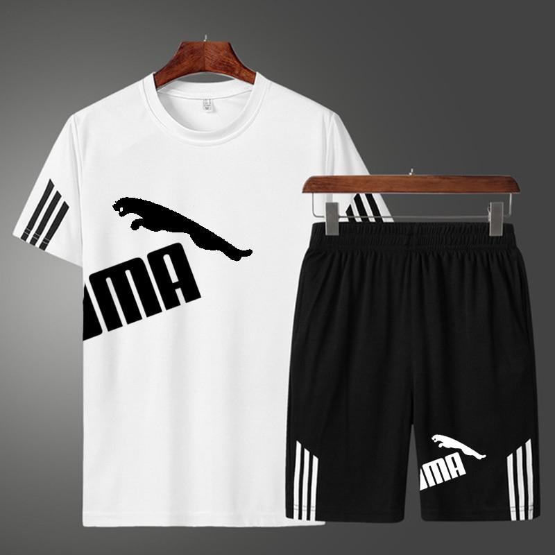 Summer men's sports tracksuit T-shirt + shorts 2 piece set polyester Fashioin jogger T-shirt Bermuda Masculina board shorts 5XL
