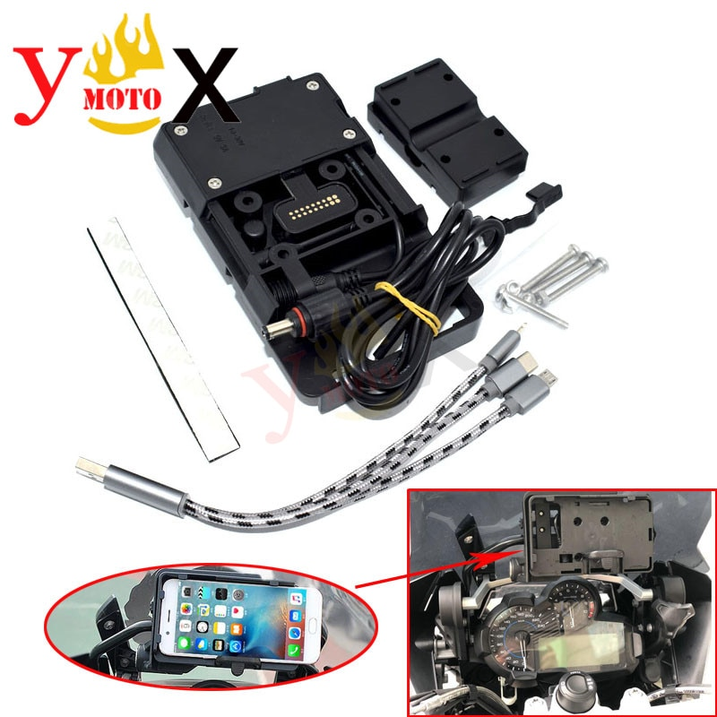 Teléfono móvil USB soporte de navegación GPS de carga USB soporte funda, soporte adaptador para BMW R1200GS R1200 GS LC/ADV-2013-2018