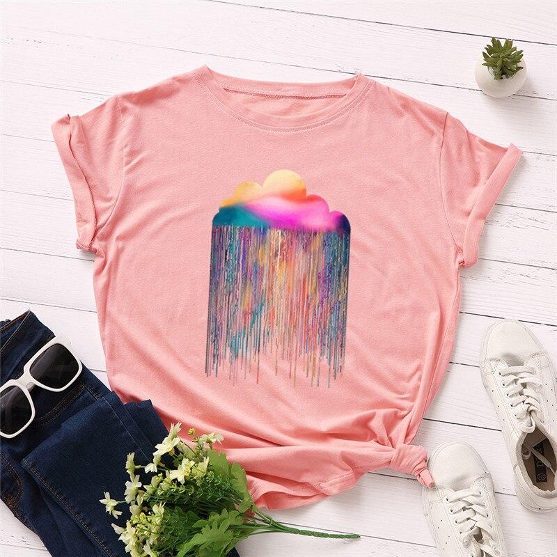 Mais tamanho S-5XL 100% algodão tshirt novas nuvens imprimir camiseta feminina o pescoço manga curta t camisa de verão camisetas femininas