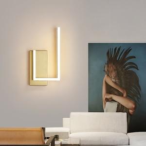 Modern Minimalist Wall Lamps Living Room Bedroom Bedside 10W AC96V-260V LED Sconce Gold Coffee Lamp Aisle Lighting Decoration