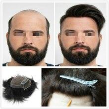 Hstonir perruque pour hommes hommes cheveux hommes postiches indien Remy cheveux suisse dentelle avant toupet H046