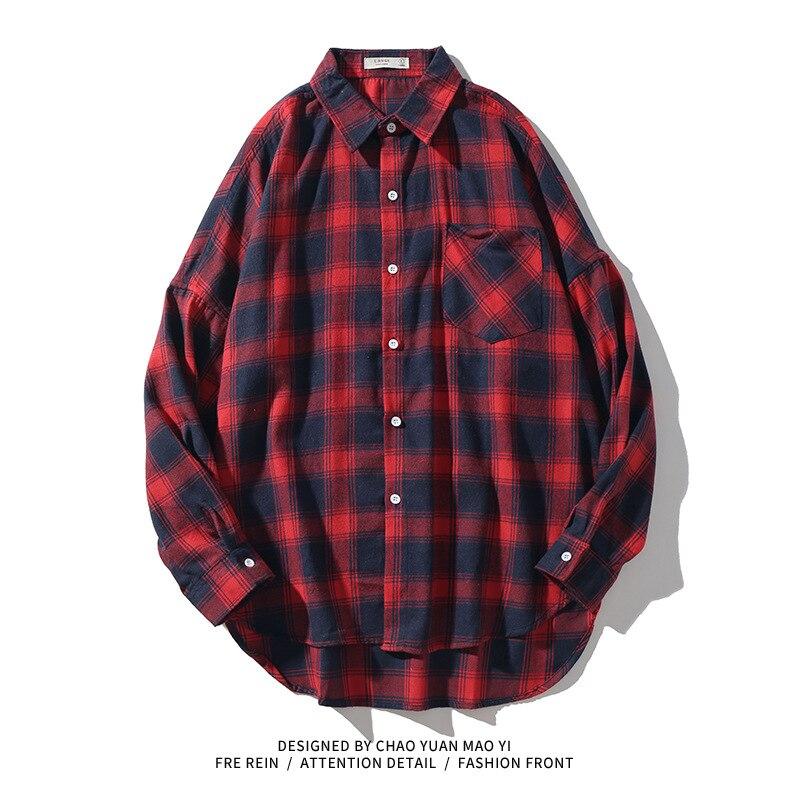 Модная мужская одежда, уличная мода, короткий спереди, длинный сзади, осенняя популярная брендовая рубашка, мужская клетчатая кофта в запад...