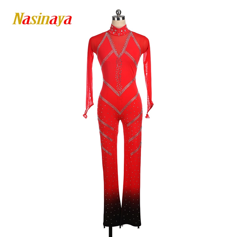 figure-skating-costume-leotards-ice-skating-red-black-for-girl-women-kids-customized-competition-gradually-changing-color-shiny