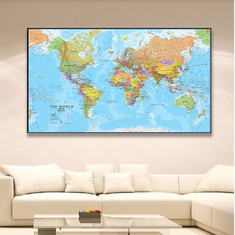 150*100cm The World Map Detailed Poster Non-woven Canvas Painting Wall Art Decor Living Room Home Decoration School Supplies