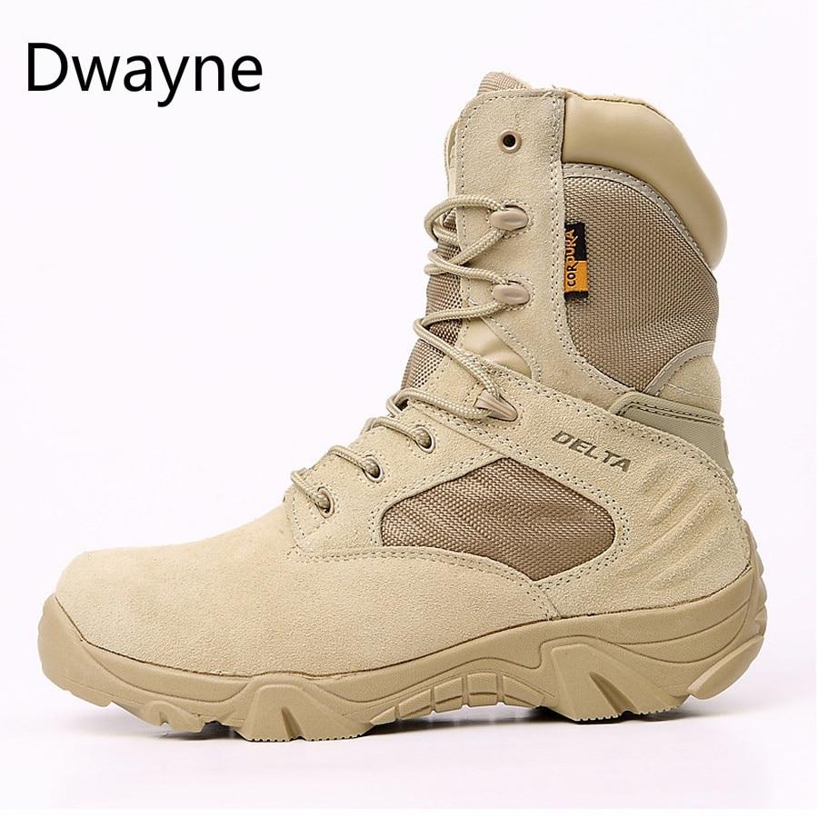 Botas militares de calidad para hombres, botas Tácticas Especiales de combate al desierto, botines de trabajo del ejército, botas de nieve impermeables de cuero 2019