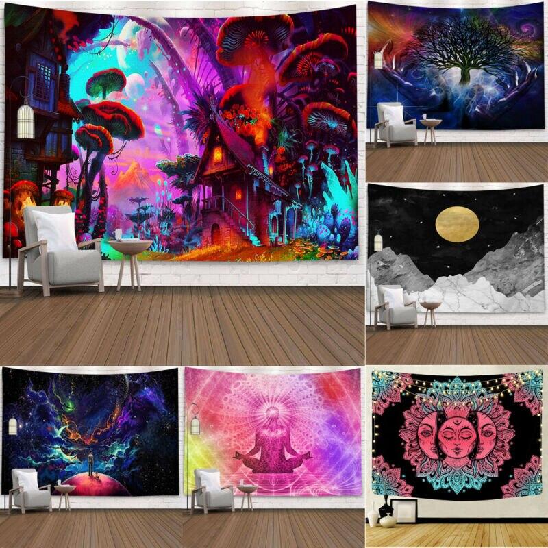 Multicolour Mandala Wall Hanging Tapestry Poster Boho Meditation Yoga Mat Decorative Tapestry 95x 73cm Brushed