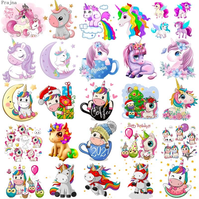 Prajna Unicorn Patches Iron On For Clothing Cartoon Patch Heat Transfer Thermal Sticker Cute