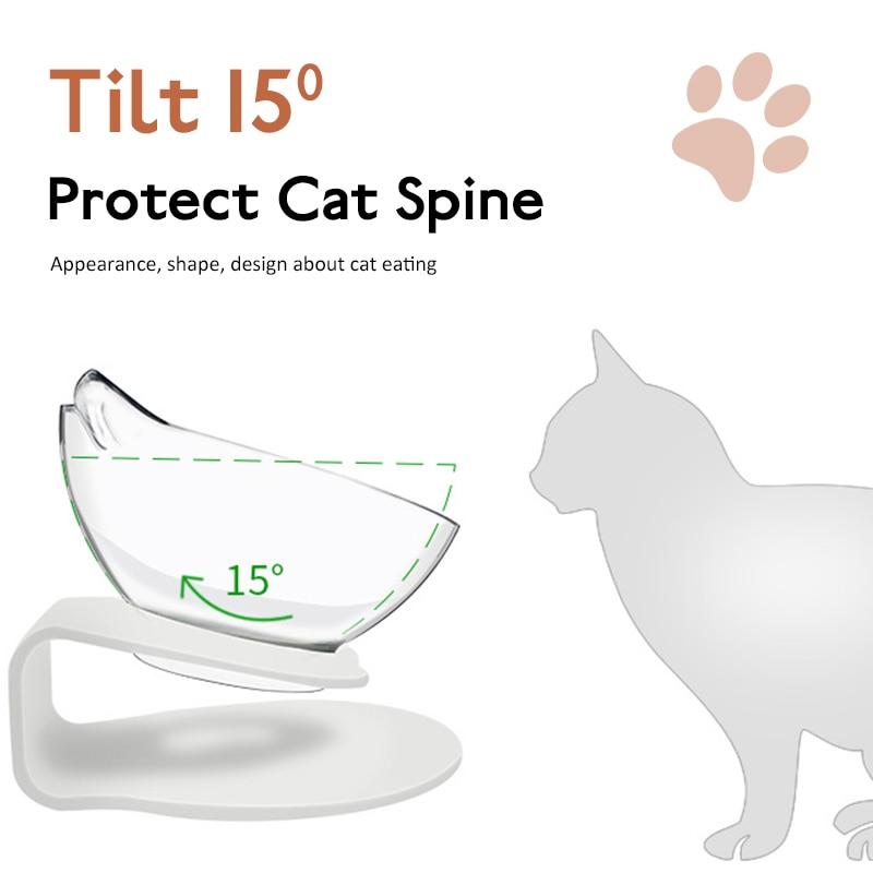 Tigela oblíqua 2 em 1 para gatos, potes para beber e proteger o pescoço em forma de orelha e animal de estimação suprimentos para animais de estimação
