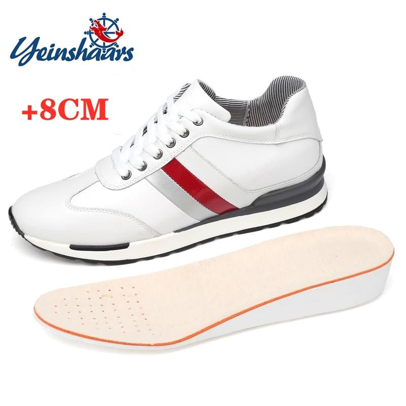 YEINSHAARS مصعد أحذية الرجال أحذية رياضية ارتفاع أحذية الرجال زيادة أحذية زيادة 8 سنتيمتر حذاء جلد جلد الأحذية طويل القامة أحذية