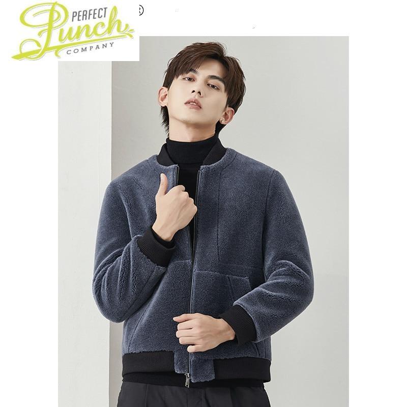 شتاء جديد سترة الرجال الملابس الكورية نمط البيسبول الدافئة عادية الصوف الحقيقي معطف الفرو الذكور chaquias Hombre LXR981