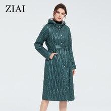 ¡Oferta! Chaqueta ZIAI 2020 para mujer, abrigo de primavera, parka largo con capucha, Cinturón Verde, botón, bolsillo, estampado, Oficina para mujer, en stock, ZM-9428