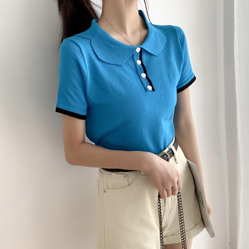 2020 verão de malha colheita topo meninas koeran moda bonito harajuku topos tshirt feminino manga curta elegante t camisa femme tamanho pequeno