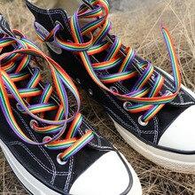 1pair Colorful Shoelaces Rainbow Gradient Flat Shoe Laces For Canvas Casual Shoes Chromatic Colour S