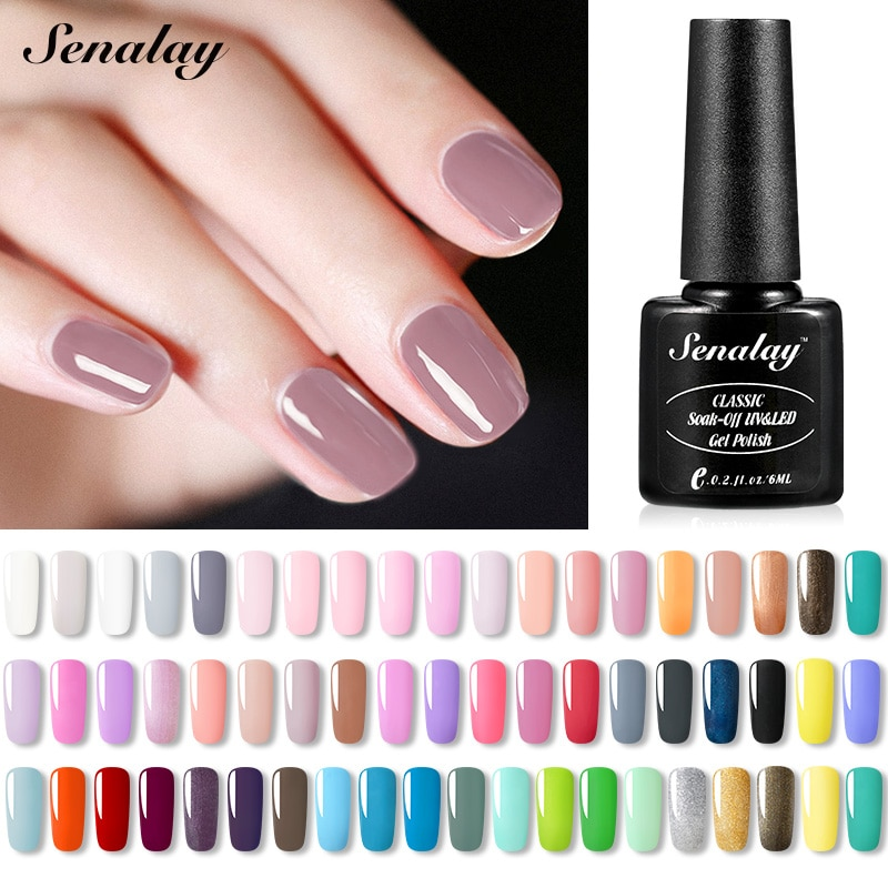 SENALAY Gel Polish Set All For Manicure Semi Permanent Vernis top coat UV LED Gel Varnish Soak Off Nail Art Gel Nail Polish