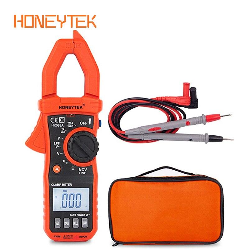 Honeytek multímetro faixa automática mini digital avometer voltímetro atual braçadeira teste de multímetro leva diodo testador lanterna