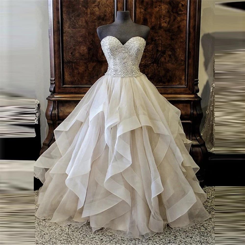 Sweetheart Tulle Ball Gown Wedding Dresses Beaded Top Ruffles Women Bridal Gowns Princess Robe De Mariee Custom Made