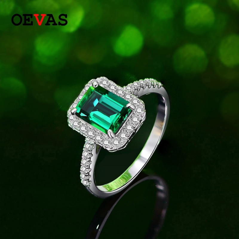 Oevas luxo 925 prata esterlina 8*6mm esmeralda anéis de casamento para as mulheres sparking cz festa de noivado noiva banda jóias atacado