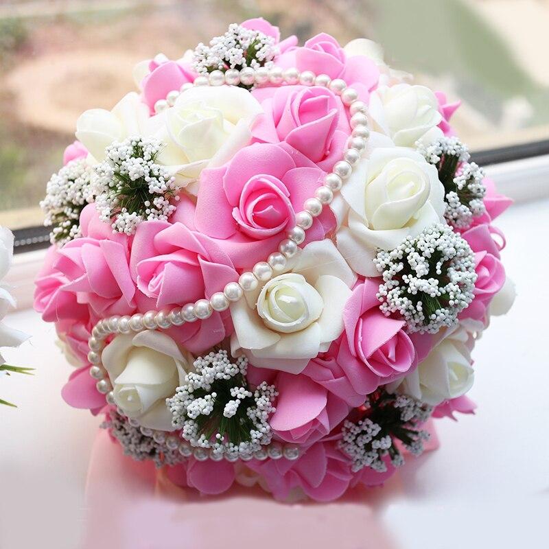 باقة ورد الزفاف ، ورد صناعي ، كرة تصوير ، ورد وردي ، ارجواني ، للعروس