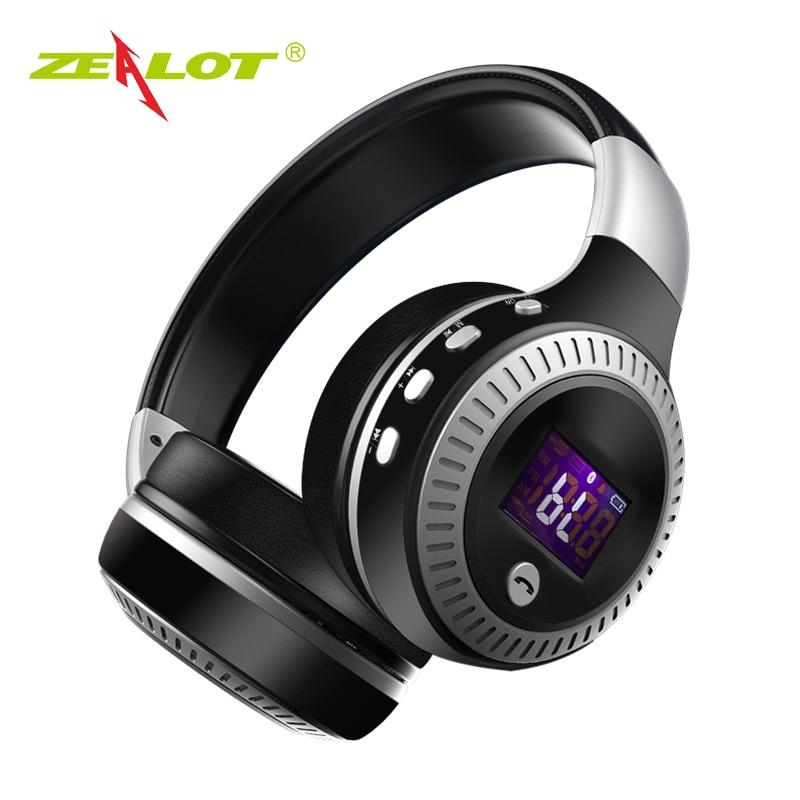 ZEALOT B19 наушники с ЖК-дисплеем HiFi бас стерео наушники Bluetooth беспроводная гарнитура с микрофоном FM радио TF слот для карты наушники